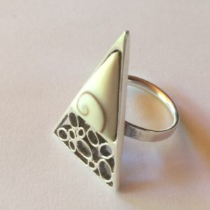 Organic silver ring with shell inlay.Adjustable