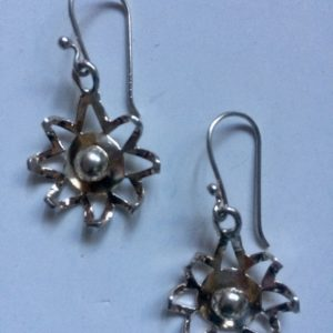 Amazing silver Flower Web design earrings