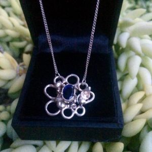 Amethyst + silver pendant on chain