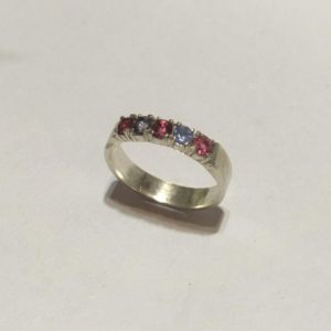 Tanzanite and pink Topaz eternity ring Size: P 1/2 / 8
