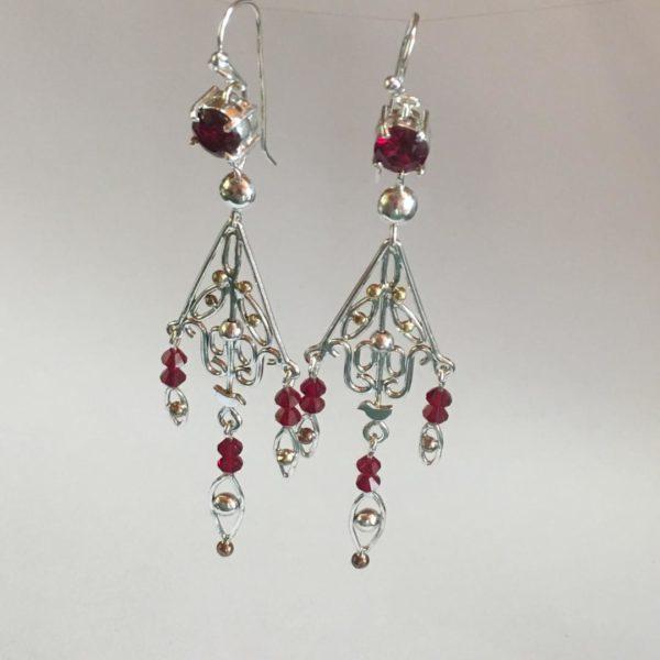 Silver & Swarovski chandelier earrings
