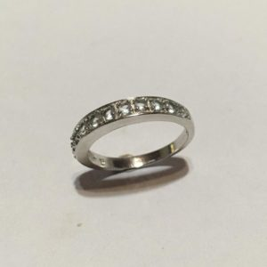 Silver & cubic zirconia eternity ring Size: P / 7 3/4