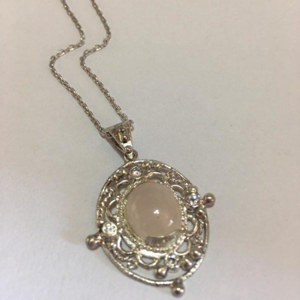Silver, Rosequartz & cubic zirconia pendant on chain