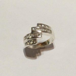Geometric silver & cubic zirconia ring