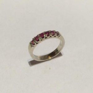 Silver & Rubelite eternity ring Size: N 1/2 / 7